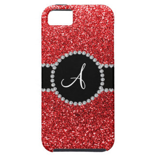Monogram red glitter diamond black circle iPhone 5 cases