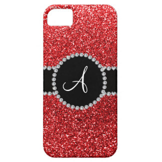 Monogram red glitter diamond black circle iPhone 5 case