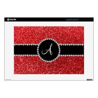 Monogram red glitter diamond black circle laptop decal