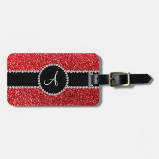 Monogram red glitter diamond black circle tag for luggage