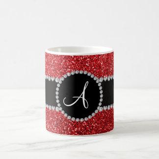 Monogram red glitter diamond black circle coffee mugs
