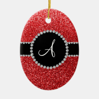 Monogram red glitter diamond black circle christmas ornaments