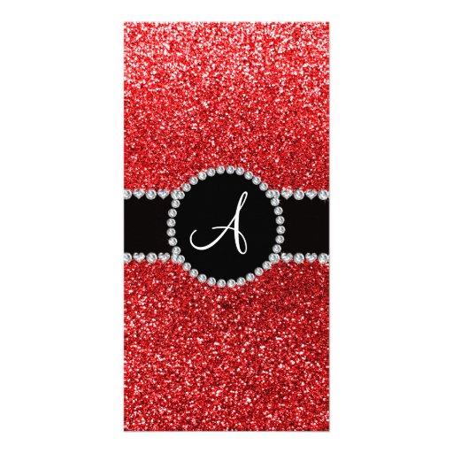 Monogram red glitter diamond black circle picture card