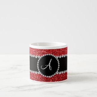 Monogram red glitter diamond black circle espresso cup
