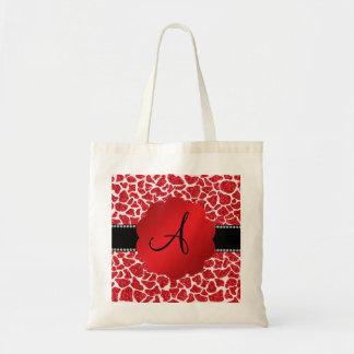 Monogram red glitter giraffe print bag