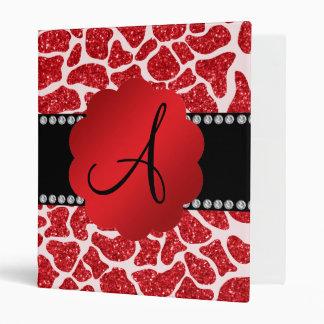 Monogram red glitter giraffe print binders