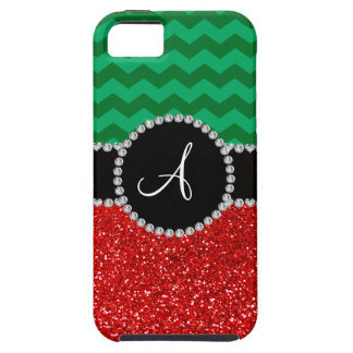 Monogram red glitter green chevrons iPhone 5 cases