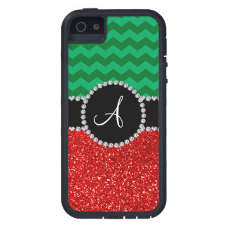 Monogram red glitter green chevrons iPhone 5 cover