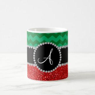 Monogram red glitter green chevrons coffee mugs