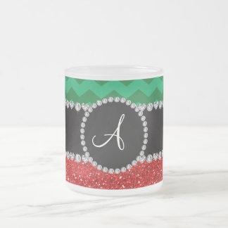 Monogram red glitter green chevrons coffee mug