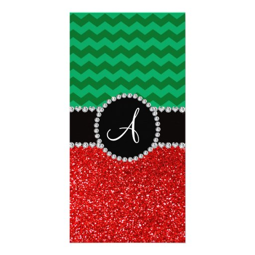 Monogram red glitter green chevrons picture card