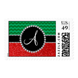 Monogram red glitter green chevrons postage stamps