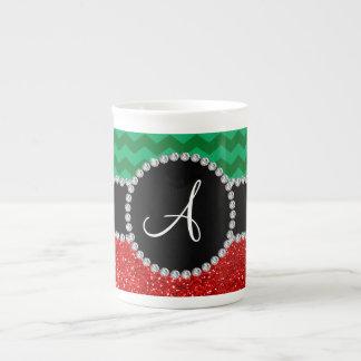 Monogram red glitter green chevrons bone china mug