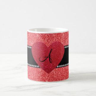 Monogram red glitter red heart mug
