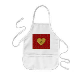 Monogram red gold anchors pattern heart apron