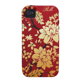 Monogram Red Gold and Black Floral Oriental style Case-Mate iPhone 4 Covers
