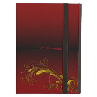 Monogram Red & Gold Floral iPad Case