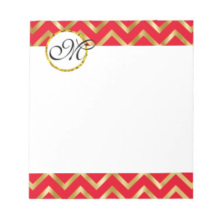 Monogram red gold white professional notepad