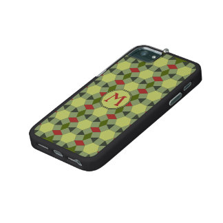 Monogram red green grey tiles iPhone 5/5S cover