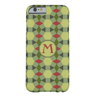 Monogram red green grey tiles barely there iPhone 6 case