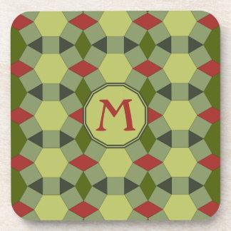 Monogram red green grey tiles drink coaster
