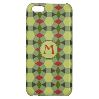 Monogram red green grey tiles cover for iPhone 5C