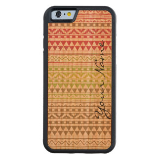 Monogram Red Green Watercolor Aztec Tribal Pattern Carved® Cherry iPhone 6 Bumper