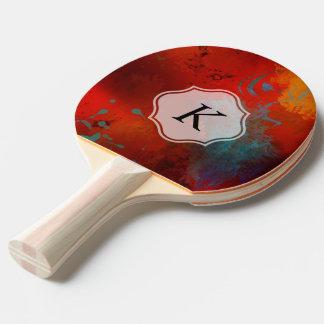 Monogram Red Grunge Digital Abstract Art Ping-Pong Paddle