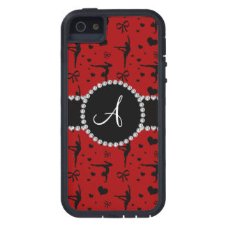 Monogram red gymnastics hearts bows iPhone 5 cover