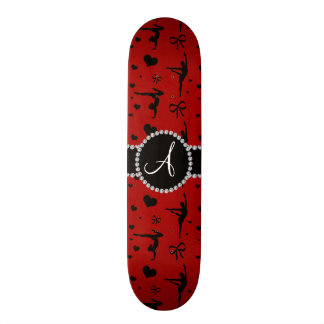 Monogram red gymnastics hearts bows custom skateboard