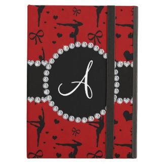 Monogram red gymnastics hearts bows iPad air cases