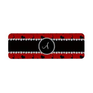 Monogram red gymnastics hearts bows label