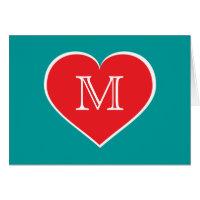 Monogram red heart - blank inside card
