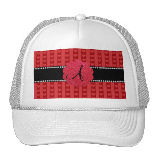 Monogram red hearts and stripes trucker hats
