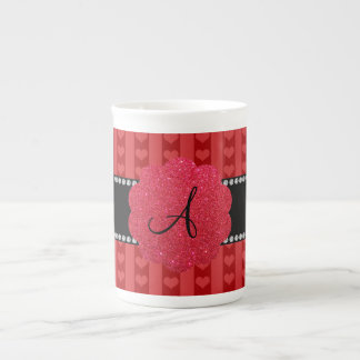 Monogram red hearts and stripes porcelain mugs