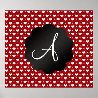 Monogram red hearts polka dots print