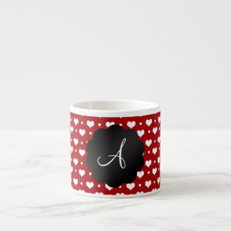 Monogram red hearts polka dots espresso mug