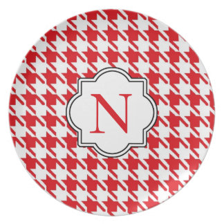 Monogram Red Houndstooth Plate