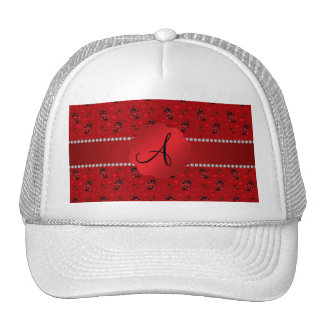 Monogram red ladybugs pattern trucker hats
