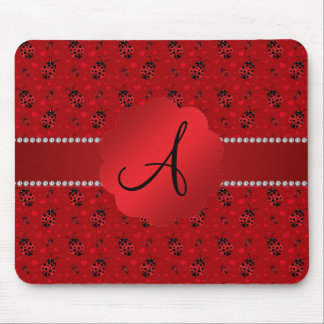 Monogram red ladybugs pattern mouse pad