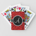 Monogram red leopard print circle bicycle playing cards
