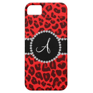 Monogram red leopard print circle iPhone 5 cases