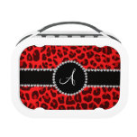 Monogram red leopard print circle lunchboxes