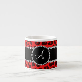 Monogram red leopard print circle espresso cup