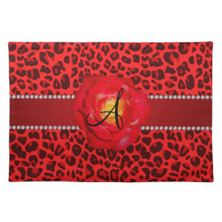 Monogram red leopard red rose placemat