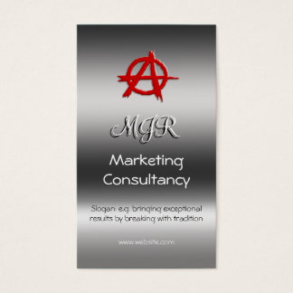 Monogram, Red Marketing Anarchy Sign, metal-look Business Card