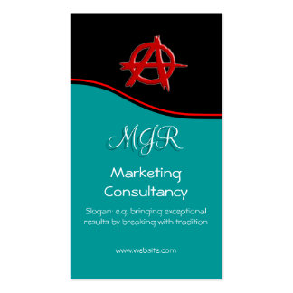 Monogram, Red Marketing Anarchy Sign, red swoosh Business Card