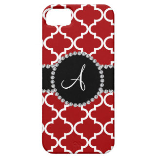 Monogram red moroccan quatrefoil iPhone 5 covers