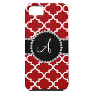 Monogram red moroccan quatrefoil iPhone 5 cover