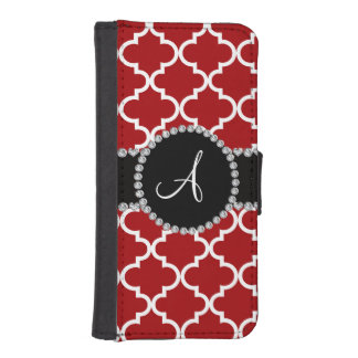 Monogram red moroccan quatrefoil phone wallets